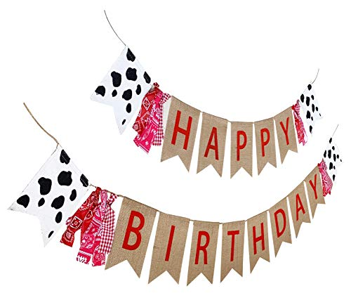 Western Themed Birthday Party (Farm Theme Birthday Banner, Burlap Barn Party Sign, Cow Print Fabric Happy Bday Banner)