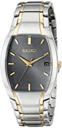 Seiko Men's SNE334 Dress Solar Analog Display Japanese Quartz Two Tone Watch