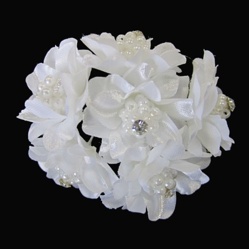 Bridal Wedding Beautiful Elegant Pressed Satin Flowers Pearl Cluster Crystal Hair Pins Sticks [PACK OF 6] -- WHITE