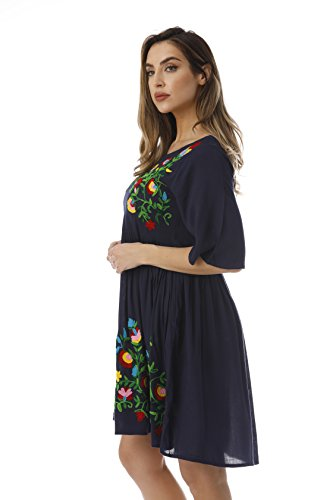 48ee2d46f7b Riviera Sun Rayon Crepe Short Dress with Multicolored Embroidery - Delocus  Store