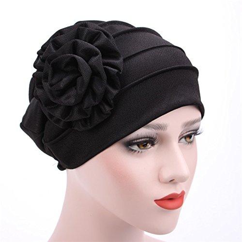 Misright Women Muslim Flower Hat Cancer Chemo Beanie Baggy Cap Turban Hijab (Black)