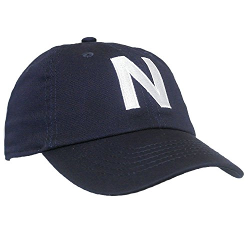 (Tiny Expressions Toddler Boys' and Girls' Navy Embroidered Initial Baseball Hat Monogrammed Cap (N,)