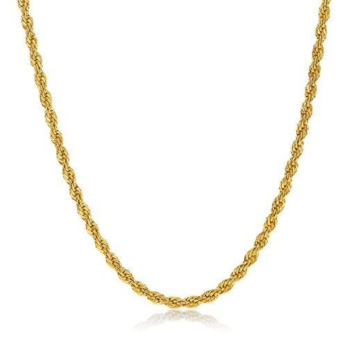 2mm 14k Gold Plated Rope Chain Necklace, 24