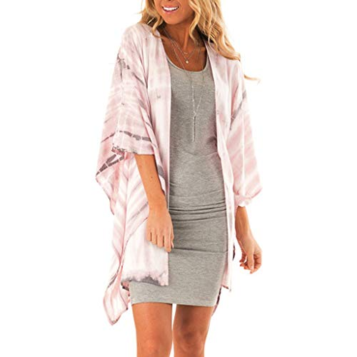 Women's Tie Dye Ombre Cardigan Short Sleeve Kimono Beach Shawl Swimwear Cover Ups Pink