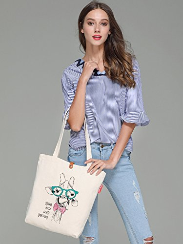 So'each Women's Cute Animal Giraffe Graphic Top Handle Canvas Tote Shopping Bag