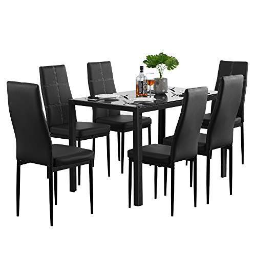 Modern 7 Pieces Dining Table Set Glass Top Dining Table And Chairs Set On Galleon Philippines