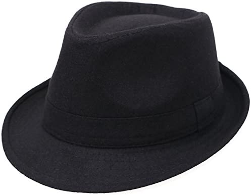 Men/'s Vintage Wool Felt Fedora Hats Classic Timeless Top Hat Jazz Cap with Full Satin Lining and Feather