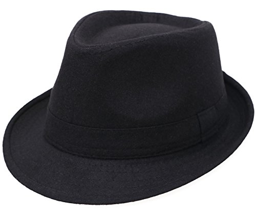 [Men's Classic Manhattan Structured Gangster Trilby Fedora Hat, Black] (Fedora Gangster Hat)