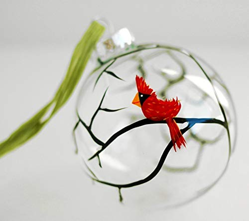 Cardinal Christmas Ornament, Hand Painted Glass Christmas Ornament, Red Bird Christmas ()