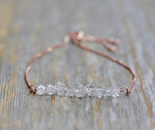 - Herkimer Diamond Gemstone Bracelet- Adjustable Chain- Rose Gold