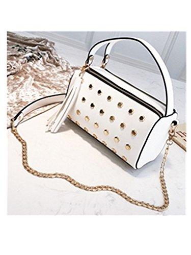 Women Rivet Boston Messenger Bag Tassel Mini Chain Shoulder Bags Women Handbags Crossbody Bags Small White 20Cm30Cm (Boston Messenger Bag)