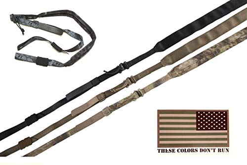 Viking Tactics - Padded 2 Point Sling - Upgrade Model - Includes American Flag Decal (Black) ()