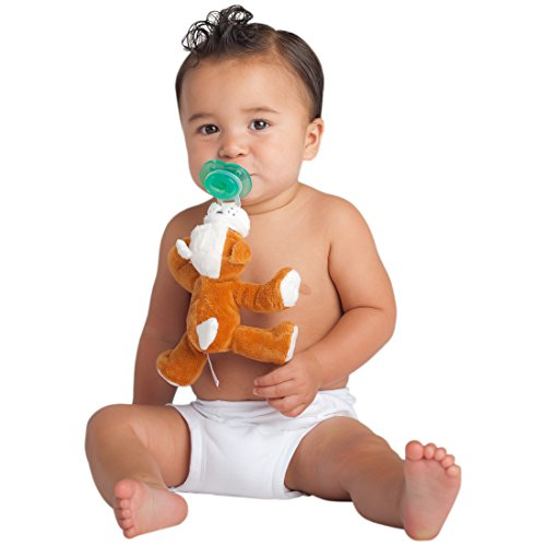 Nookums Paci-Plushies Bull Dog Shakies - Pacifier Holder and Rattle (2 in 1) (Plush Toy Includes Detachable Pacifier, Use with Multiple Brand Name Pacifiers) by Nookums (Image #2)