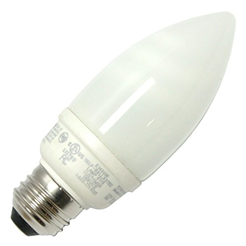 TCP 1070935K CFL Torpedo - 40 Watt Equivalent (9W) Bright White (3500K) Medium Base Decorative Chandelier Light ()
