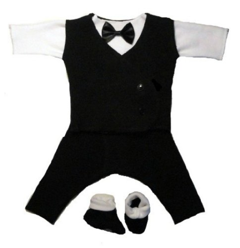 Jacqui's Baby Boys' Black and White Suit with Black Vest