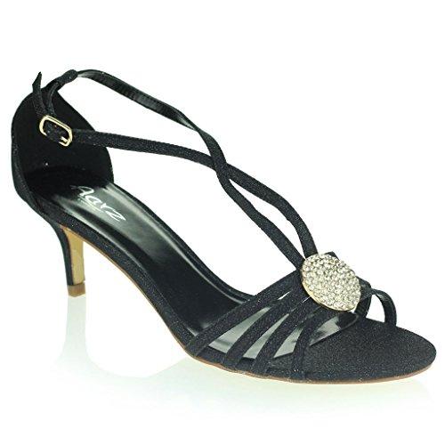 Mujer Señoras Broche de Cristal Correa Diamante Delgado Tacón Medio Noche Fiesta Boda Paseo Sandalias Zapatos Talla Negro