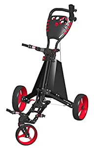 Spin It Golf Products Easy Drive Golf Push Cart, Black/Red