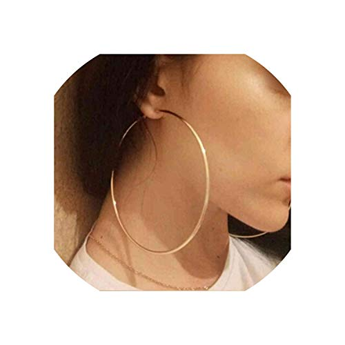 Trendy Large Hoop Earrings Big Smooth Circle Celebrity Loop Earrings For Women Jewelry,Silver 60Mm