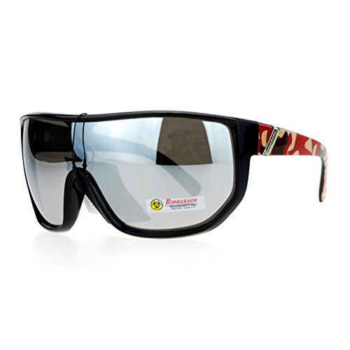 Mens Oversized Shield Goggle Frame Mirror Lens Red Camo ()