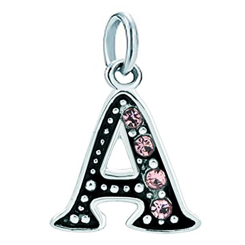 Q&Locket Pink Letter A-Z Alphabet Initial Charms Bead for Bracelets (A)