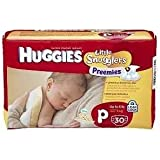 Huggies Supreme Little Snugglers, Preemies, 60 (2 PACKS of 30)