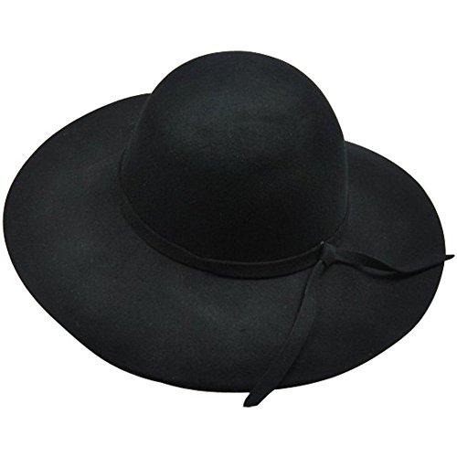 - Bienvenu Women's Wide Brim Wool Ribbon Band Floppy Hat Black