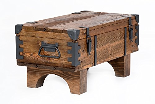 Own Design Coffee Table Old Travel Steamer Trunk Masive Pine Cottage Vintage Chest 37 cm Height / 38.5 cm Depth / 77 cm Width