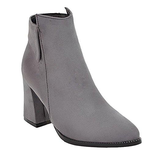 Gray Fashion Women's Chunky Zipper Charm Ankle Heel Boots Foot High P1qEFExwz