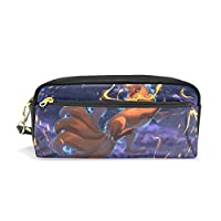 Hulahula Fox Leather Student Pencil Case Cosmetic Bag Pen Makeup Pouch for Girl Boy