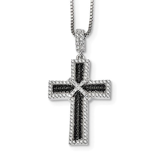 925 Sterling Silver Rh Black White Cubic Zirconia Cz Cro925 Chain Necklace Pendant Charm Cross Crucifix Fine Jewelry Gifts For Women For -
