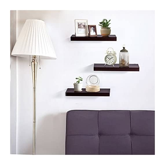 "INART Brown Floating Shelves Storage Shelf Set of 3 Wall Mounted Display Ledge, 5.9"" Deep - DECORATIVE WALL SHELF: Decorative and functional for your home, office, or dorm room; use to display vases, small pictures and more MADE OF LIGHTWEIGHT MATERIALS: Made of lightweight and high quality MDF. These wall shelves are fits in any room WALL MOUNTED SHELF DIMENSION: 14.9 in W x 1.3 in H x 5.9 in D - wall-shelves, living-room-furniture, living-room - 41Xv3rF8lcL. SS570  -"