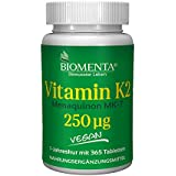 BIOMENTA VITAMIN K2 MK7 | 250 mcg je Tablette | VEGAN | 365 Vitamin K2 Tabletten | 1 Jahreskur