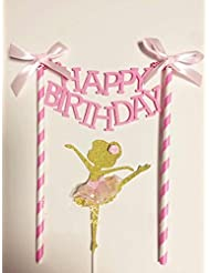 Astra Gourmet HAPPY BIRTHDAY Cake Bunting Topper with Pink Bows and Straws, Gold Glitter Ballerina Cake Topper with Pink Dress, Set of 2 Birthday Party Decorations