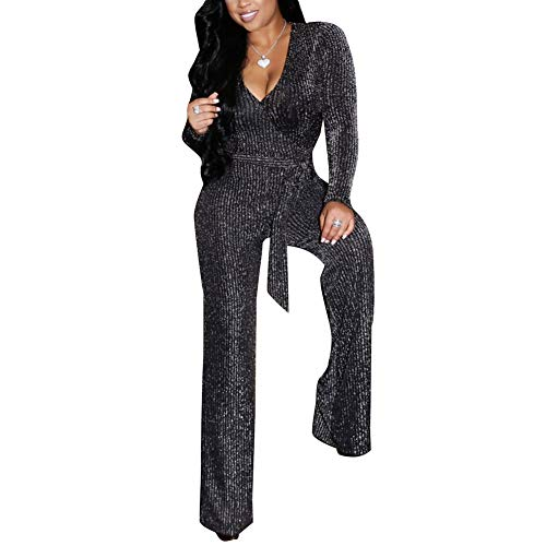 ECHOINE Womens Sparkly V Neck Long Sleeve Party Clubwear Bodycon Jumpsuit Romper Pants Silver S - New Years Eve Outfits