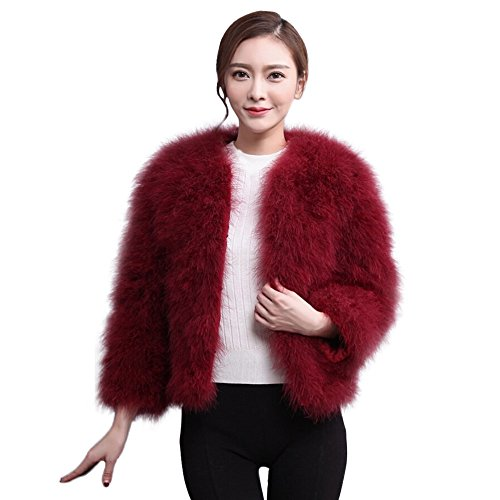 - VESNIBA Women Faux Fur Ostrich Feather Soft Fur Coat Jacket Fluffy Winter Xmax Wine
