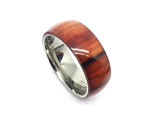 8mm Titanium With Pure Light Brown Cherry Hawaiian Koa Wood Domed Top Wedding Band Ring ForMen Or Ladies