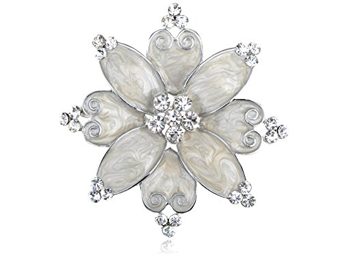 [Alilang Hand Painted Pearlescent White Enamel Czech Crystal Rhinestone Flower Brooch Pin Silvery] (Czech Costumes Jewelry)