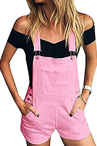 (Jeanewpole1 Womens Summer Distressed Denim Bib Short Jumpsuits Casual Shortalls Overalls with Pockets (Large, Pink))
