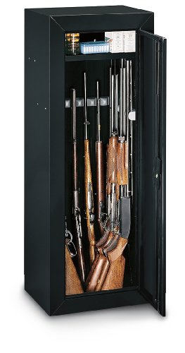 Stack-On 14-gun Cabinet with Top Box Black Finish