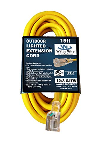 15-ft 12/3 Heavy Duty Lighted SJTW Indoor/Outdoor UL Listed Extension Cord by Watt's Wire - Yellow 15' 12-Gauge Grounded 15-Amp Three-Prong Power-Cord (15 foot 12-Awg)