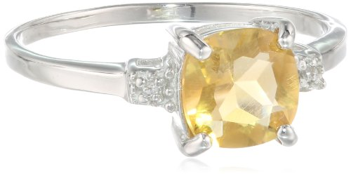 Sterling Silver, Cushion-Cut Citrine, and White Topaz Ring, Size 8 (Cut Cushion Fashion Ring Citrine)