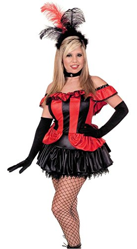 [Womens LG (11-13)- BLK/RED-Can Can Girl w/Gloves] (1800s Dresses Costumes)