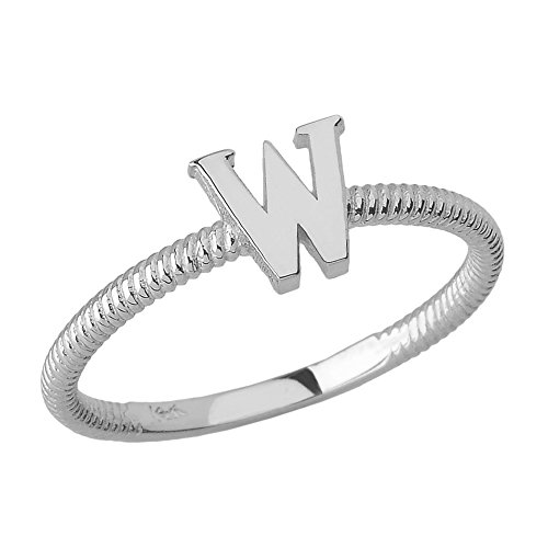 Women's 925 Sterling Silver ''W'' Initial Stackable Rope Design Ring (Size 4.5) by Modern Contemporary Rings