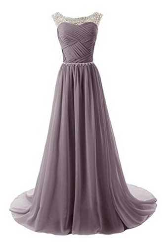 VogueZone009 Womens Bateau Neck Formal Dresses with Ruched and Backless, Grey, 16 by VogueZone009