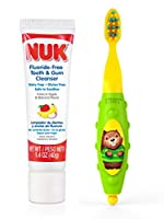 NUK Toddler Tooth and Gum Cleanser with 1.4 Ounce Toothpaste, Colors May Vary