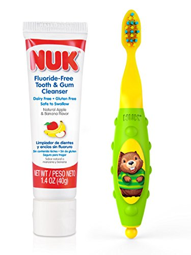 NUK Toddler Tooth and Gum Cleanser with Toothpaste, Colors May Vary,1 Set