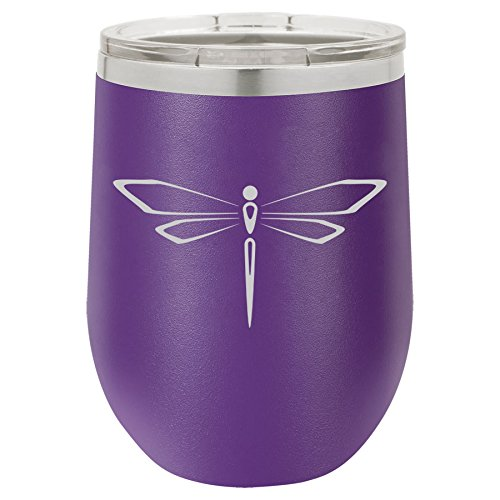 12 oz Double Wall Vacuum Insulated Stainless Steel Stemless Wine Tumbler Glass Coffee Travel Mug With Lid Dragonfly - Dragonfly Mug Travel