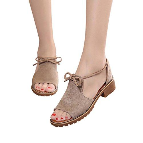 Bed 35' Khaki - AIMTOPPY HOT Sale, Ladies Band Fish Head Open Toe Thick Heel Sandals Shoes Rome Sandals Shoes (US:5.5, Khaki)