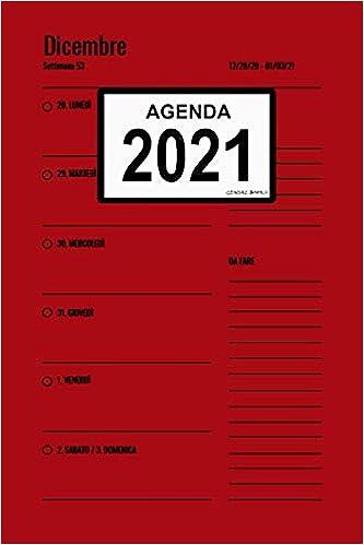 Agenda 2021: (Rosso) Pianificatore settimanale e mensile +