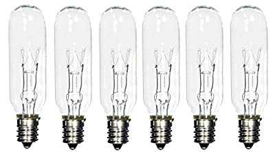 (Pack of 6) 15T6 15 Watt Tubular Light Bulb Candelabra E12 Base Clear Bulb